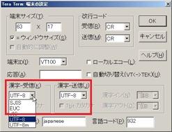 手動での文字コード変更画面