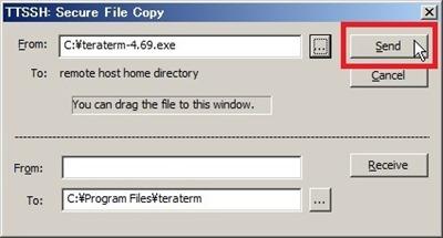 「Secure File Copy」画面で「Send」をクリック
