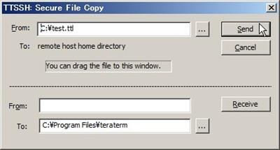 「Send」をクリックしてファイル送信開始