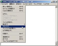 「ファイル」メニューから「SSH SCP」を選択